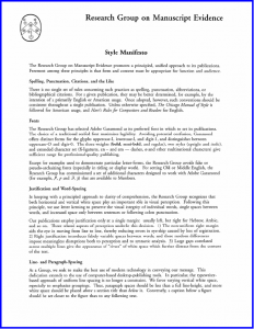 The first page of the 'Style Manifesto' of the Research Group on Manuscript Evidence in the version of October 1999