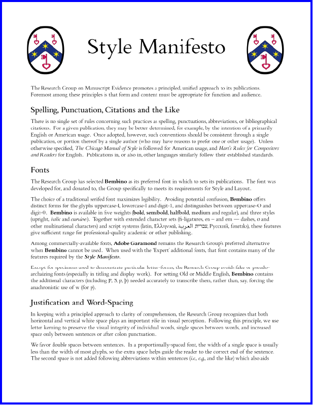 Page 1 of the 'Style Manifesto' of the Research Group on Manuscript Evidence in the version of April 2014 (4 pages)