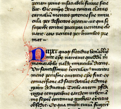 Dialogues of Gregory the Great, Book III, chapter XIII initial, reproduced by permission