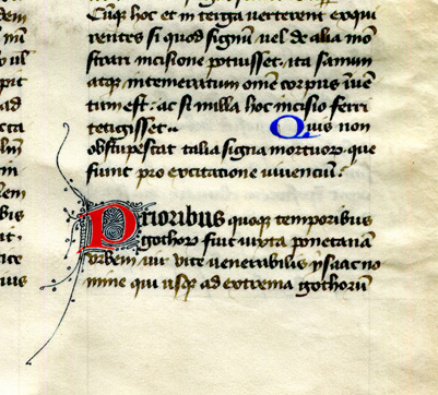 Dialogues of Gregory the Great, Book III, chapter XIV initial, reproduced by permission