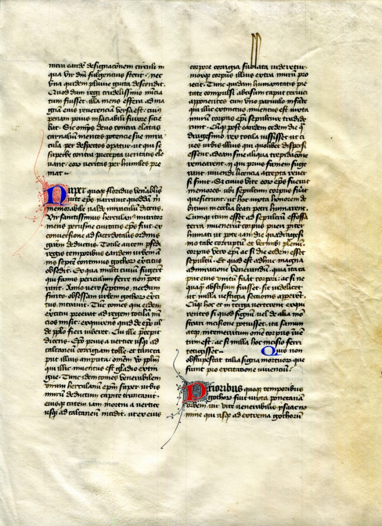 Recto of Detached Leaf from 'Otto Ege Manuscript 41' (with the Dialogues of Gregory the Great, Book III, Chapters XII-XIV. Private Collection, reproduced by permission.