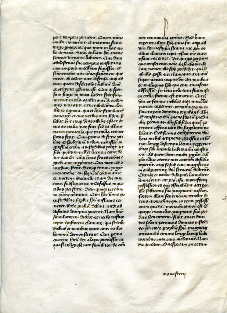 Verso of Detached Leaf from 'Otto Ege Manuscript 41' (with the Dialogues of Gregory the Great, Book III, Chapter XIV. Private Collection, reproduced by permission.