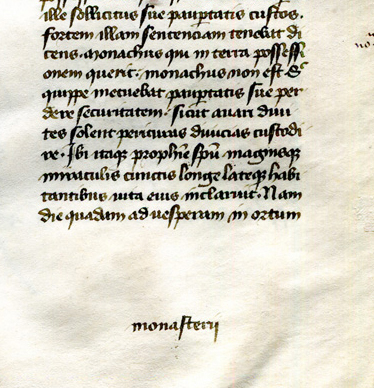Catchword 'monasterii' on verso of Gregory 'Dialogues' leaf in a private collection, reproduced by permission.