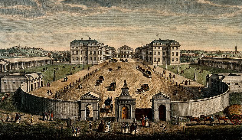 Coloured engraving of a bird's eye view of the Courtyard of the Foundling Hospital, Holbourne, London, with scenes of humans and other creatures both within and without.  Coloured engraving by T. Bowles after L.P. Boitard (1753).  Image via Wikimedia Commons from Wellcome Images (http://wellcomeimages.org