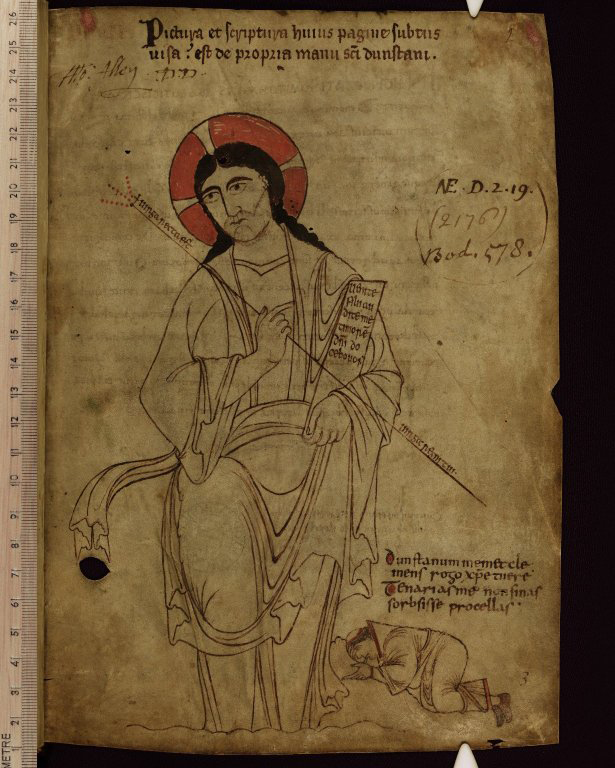 Frontispiece image, with the prostrate figure of Saint Dunstan beside Christ, in Saint Dunstan's Classbook, MS. Auct. F. 4. 32, folio 1r, tenth century. Photo: © Bodleian Library, University of Oxford (2015)