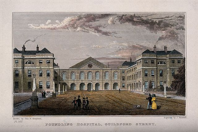 The Foundling Hospital: The main buildings seen from within the grounds. Coloured engraving by J. Henshall after T. H. Shepherd. Via http://welcomeimages.org/ under Creative Commons