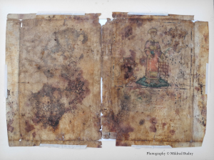 Italian Bible leaf verso with added illustration. Photography © Mildred Budny
