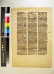 Leaf from the A-Group of the 'Interpretation of Hebrew Names' in 'Ege Manuscript 14'. Photography by Mildred Budny