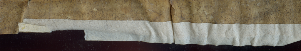 Masking Tape added after 1951 to the reframed fragments of a single large-format 11th-century leaf. Budny Handlist 1.