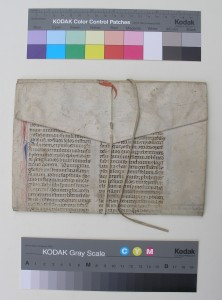 Leaf from Justinian's 'Novellae', reused as a wrapper, closed, seen from the flap side. Photography by Mildred Budny