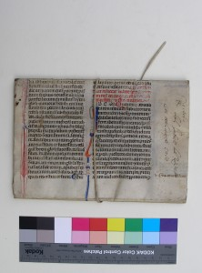 Leaf from Justinian's 'Novellae', reused as a wrapper, closed, seen from the back side. Photography by Mildred Budny