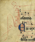 Decoated initial E for 'En' on the verso of the Processional Leaf from ' Ege Manuscript 8'. Photography by Mildred Budny