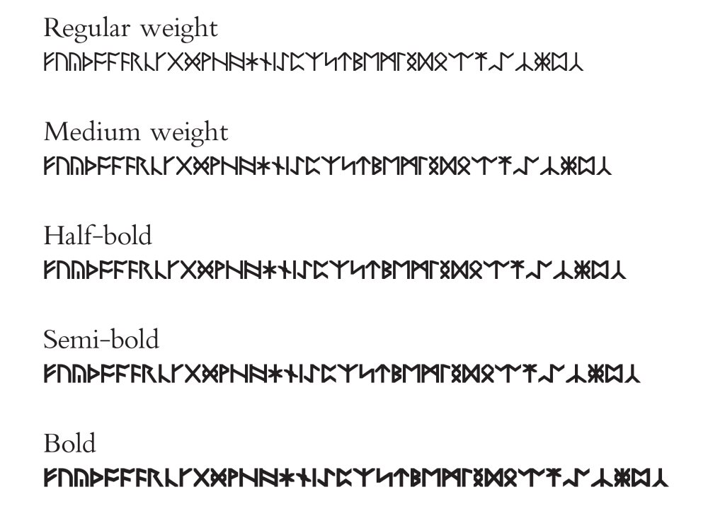 Rune samples in the available weights