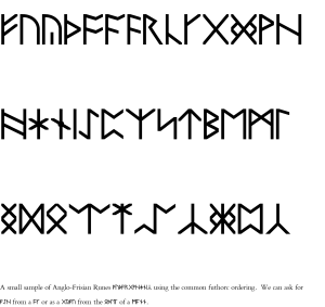 A small sample of Anglo-Frisian Runes using the common futhorc ordering