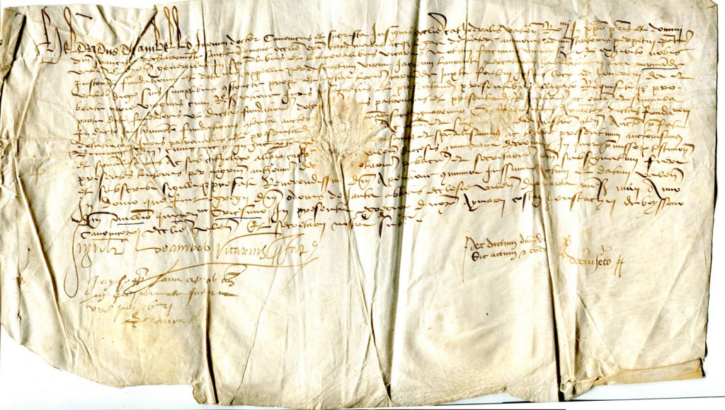 1530 document from Vienne in France, on a single sheet with damage by creases and stains. Reproduced by permission