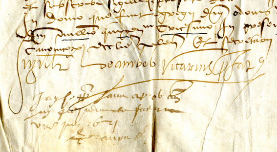 Detail of document of 1530 for a transaction relating to Vienne in France, showing the lower left-hand side of the document, with its citation of the date in Latin and with attesting signatures. Reproduced by permission.
