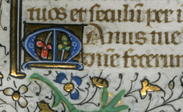 Detail of an initial M on the verso of the leaf. Photography by Mildred Budny