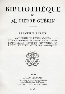 Title page for Part I of the Pierre Guérin sale in 1938