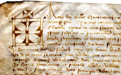 Detail at top left of a document of 1437 from Chambèry in France, with the cross-surmounted notarial sign at the start of the text. Reproduced by permission.