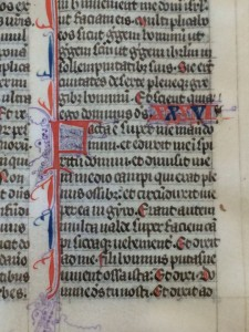Detail of the verso of the Exekiel Leaf in the University of Pennsylvania, with the opening of Chapter 36 and its decorated initial. Reproduced by permission