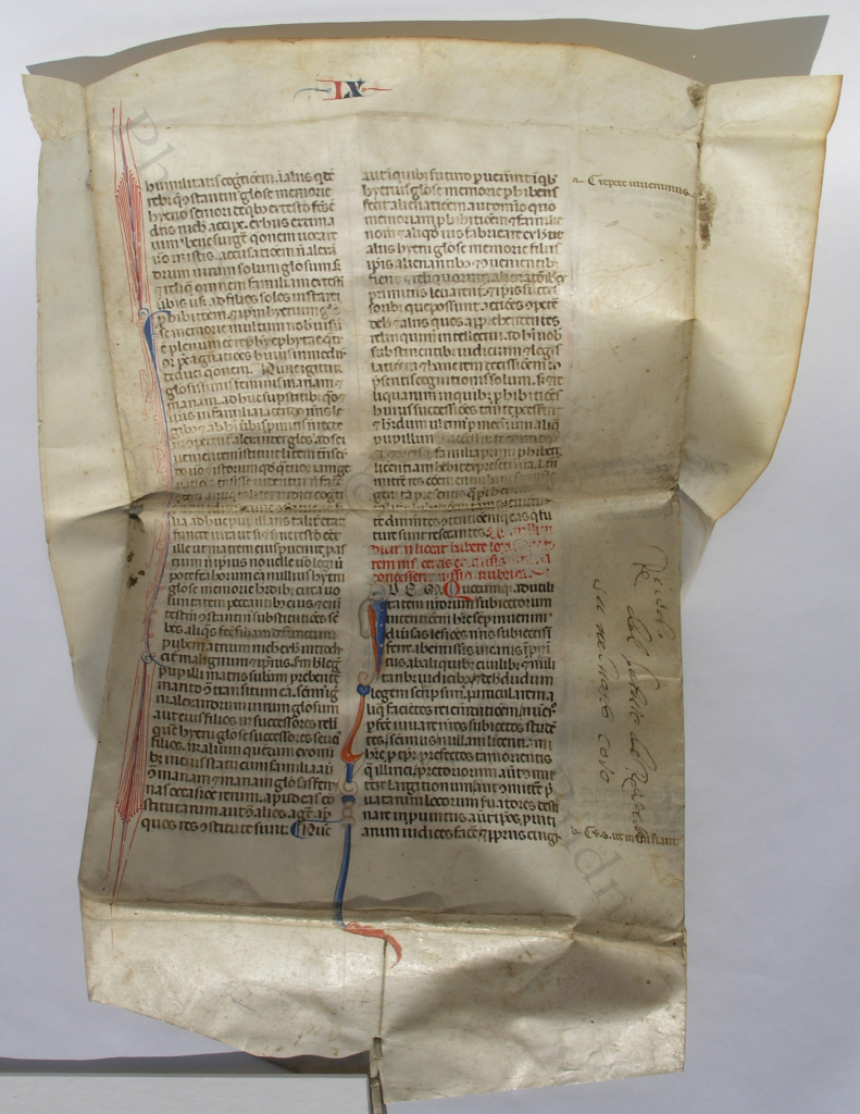 The 'Justinian Wrapper' partly unwrapped, with the exterior of the folder (that is, the original recto of the medieval leaf with part of the Emperor Justinian's 'Novels' (or 'Novellae Constitutiones'), showing its full two columns of text and most of its original margins, above the pasted flap at the bottom. Photography © Mildred Budny