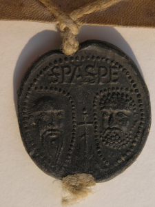 Obverse of Bulla of Pope Innocent IV with the faces of Saints Peter and Paul. Photography © Mildred Budny