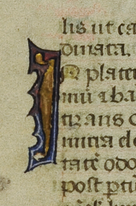 Detail of Verso from a Detached Leaf from a tiny Book of Hours, with the decorated initial I of 'In' within the Hours of the Virgin. Photography © Mildred Budny