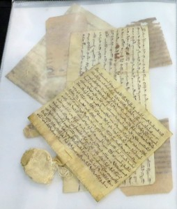 Pile of documents and manuscript fragments within melanex protective sheets, with 2 medieval documents from Preston Saint Mary at the top. Photograph by Mildred Budny.