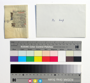 The Leaf, turned to the Verso, alongside the small-format envelope used to 'contain' the leaf, shown from its front with the owner's handwritten inscription in blue ink 'Ms leaf', as well as a color guide and scale for reference. Reproduced by permission of the photographer.