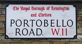 Sign for the Portobello Road, W11, London