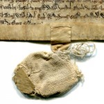 Cloth bag, now empty, for the original seal to authenticate the document, which remains intact, for a transaction of about the mid 13th-century at Preston, near Ipswich, Suffolk, UK. Photograph reproduced by permission.