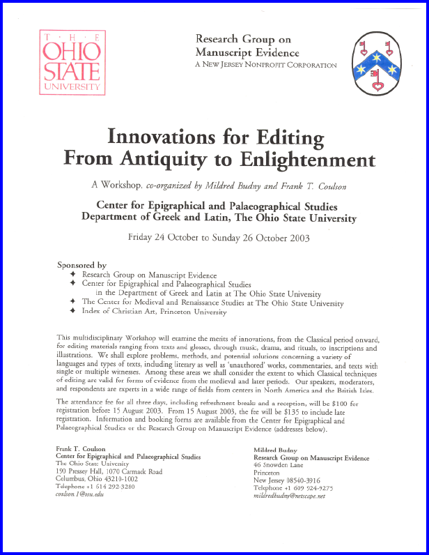 2003 Poster for Colloquium on 'Innovations in Editing Texts from Antiquity to Enlightenment', laid out in Adobe Garamond