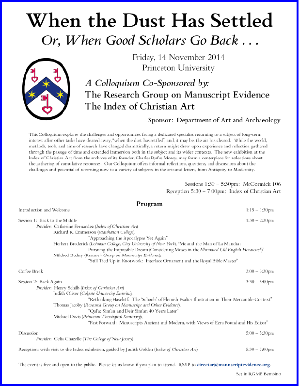 2014 Poster/Program for the Colloquium on 'When the Dust Has Settled, Or, When Good Scholars Go Back . . . ', laid out in RGME Bembino