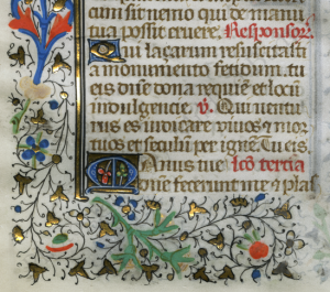 Verso of Leaf with the Office of the Dead from an unknown Book of Hours, showing its elaborate foliate border in gold and polychrome. Photography © Mildred Budny