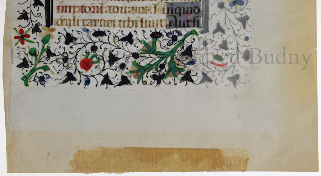 Detail of Recto of Leaf from the Office of the Dead in a dismembered Book of Hours, with the lower portion of the text and decorative border, the lower margin, the first part of its seller's inscription in pencil, and the masking tape which covers the rest of that inscription and masks the leaf. Photography © Mildred Budny