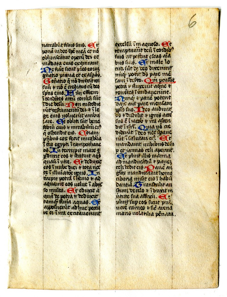 Folio 6 recto, with part of Vulgate Psalm 77, extending from within Verse 6 ('narrabunt') to the end of verse 27. Reproduced by permission.