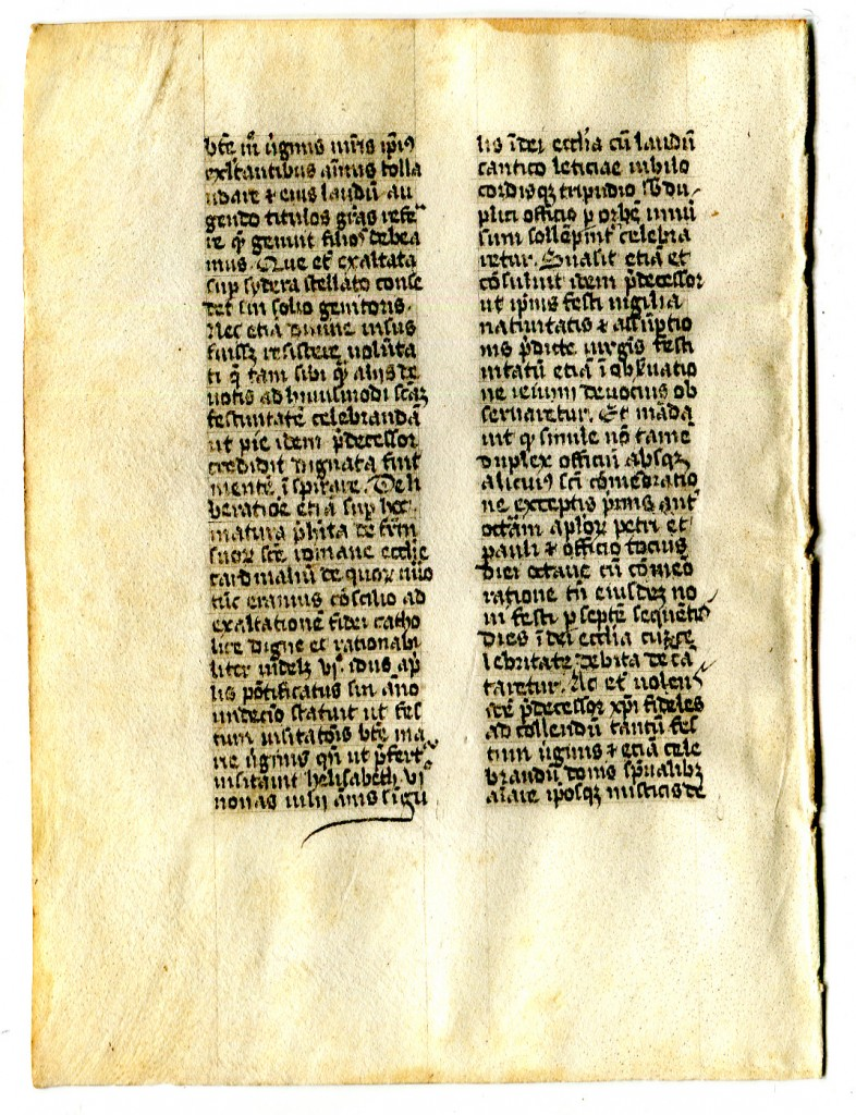 Folio 7 verso with a portion of text as yet unidentified. Reproduced by permission.
