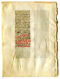 Folio 8v completing the section of text, with a blank column to follow. Reproduced by permission.