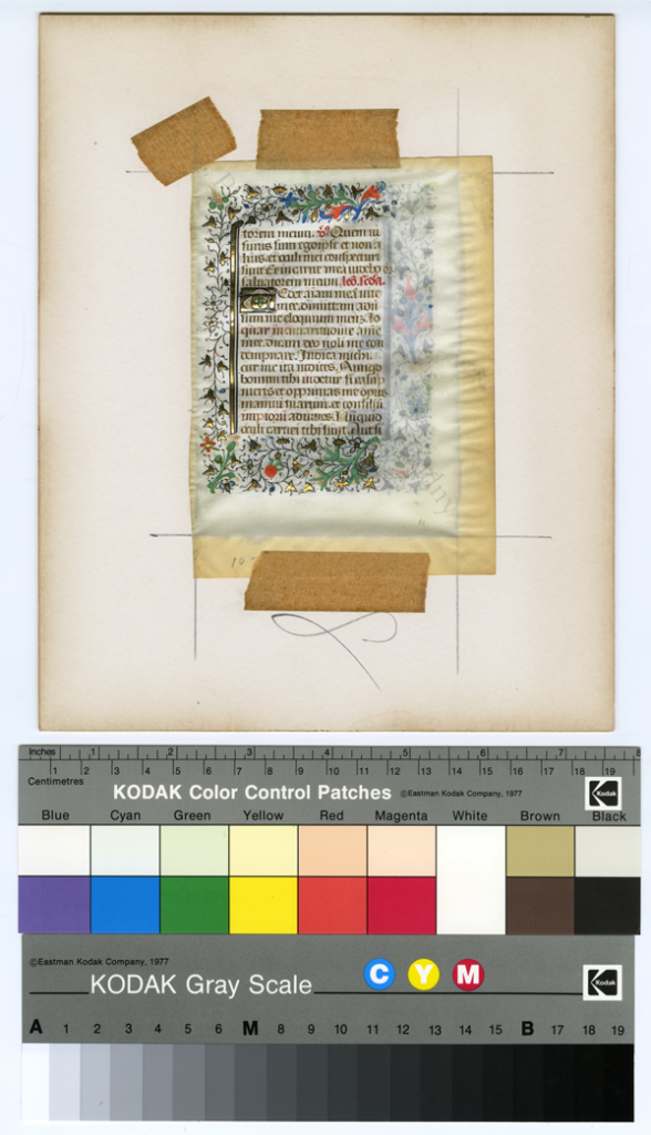 Recto of Leaf from the Office of the Dead from a Book of Hours, removed in conservation from its frame, and photographed while still in place taped to the mat, showing the darkened edges from contact with the non-acid-free mat. Photography © Mildred Budny