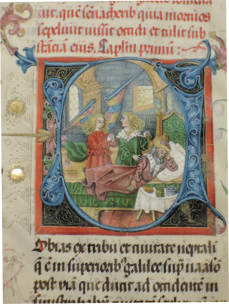 The illustrated opening initial for Tobias in Otto Ege Manuscript 44, in a detail showing the illustrated initial. Reproduced by permission of the Otto Ege Collection, Beinecke Rare Book and Manuscript Liibrary, Yale University. Photograph courtesy Lisa Fagin Davis.