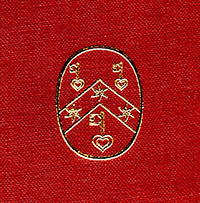 Gold-stamped logo of the Research Group on Manuscript Evidence on Red fabric ground on the Front Cover of Volume I (Text) of 'Insular, Anglo-Saxon, and Early Anglo-Norman Manuscript Art at CorpusChristi College, Cambridge' by Mildred Budny