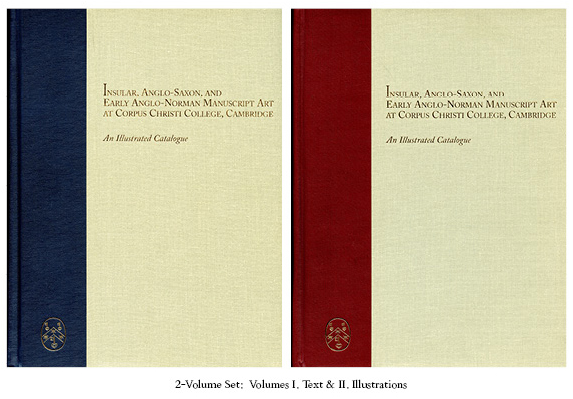 Front Covers for Volumes I & II of 'Insular, Anglo-Saxon, and Anglo-Norman Manuscript Art at Corpus Christi College, Cambridge: An Illustrated Catalogue' by Mildred Budny, with the title of the publication and the gold-stamped logo of the Research Group on Manuscript Evidence, co-publisher of the volumes