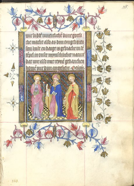 Prayerbook of Mary of Guelders, folio 166r, for February.  Image with Saints Agatha, Blaise, and Dorothea, full-length in a row within a rectangular frame within the text page.  Reproduced by permission..