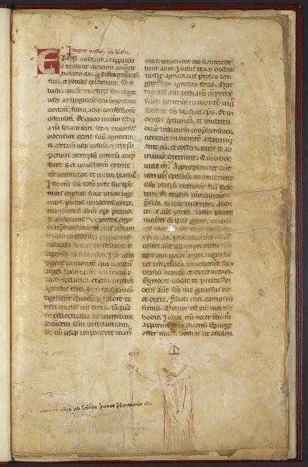 Opening page of MS LJS 418, containing texts for Saint Blaise, at the University of Pennsylvania Library. Public Domain image.