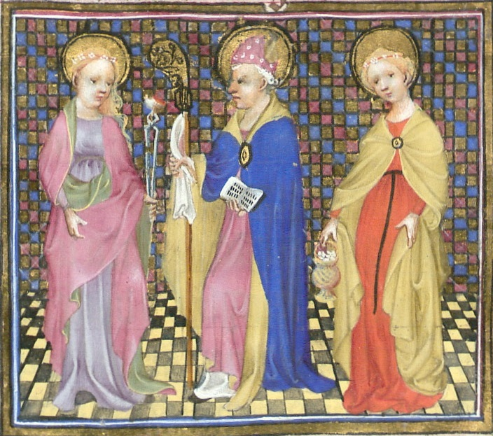 Detail of the Prayerbook of Mary of Guelders, folio 166r, for February.  Image with Saints Agatha, Blaise, and Dorothea, full-length in a row within a rectangular frame.  Reproduced by permission.