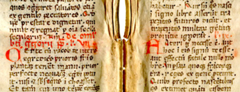 Detail of the midsection of Folios Ivb and IIra with the closing set of Lections on Astrology by Gregory the Great. Reproduced by permission.