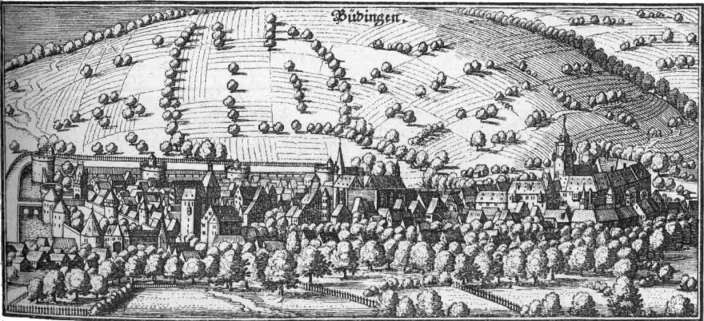 View of Büdingen: Engraving by Matthias Merian the Elder in Martin Zeiller, 'Topographia Hassiae, et Regionum Vicinarum' (Franckfurt am Mayn, 16 volumes, 2nd edition, 1655). Image via Wikimedia Commons.