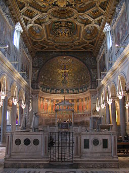 A view of the interior, facing the apse, in the Upper Church of the Basilica of San Clemente in Rome, with its apse mosaics.