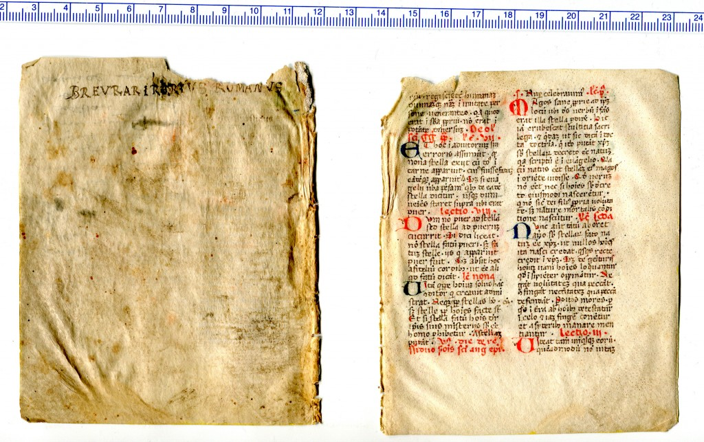 Recto of Bifolium with originally blank page and first surviving page of a set of Lections on Astrology by Augustine of Hippo and Gregory the Great. Reproduced by permission.
