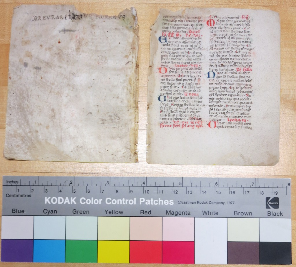 Breviary Fragment, Folios IIv/Ir, with the Revised Title and the Penultimate Page of the Lections. Color Guide and Scale included. Private Collection. Photography by Mildred Budny.